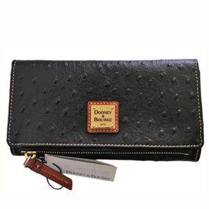 Dooney & Bourke Ostrich Leather Foldover Wallet